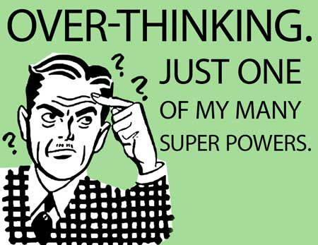"illustration of a man with question marks around his head in a classic 50's advertising style for a blog article for Gulf Breeze Recovery's non 12 step holistic drug treatment program called THRIVE® Total Health Recovery entitled ""Why Overthinking Things Is Wasting Your Time and 5 Ways to Stop."""